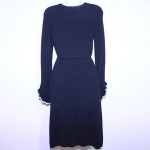 Milly Dresses - Milly 100% Wool Knit Flounce Sleeve Sweater Dress